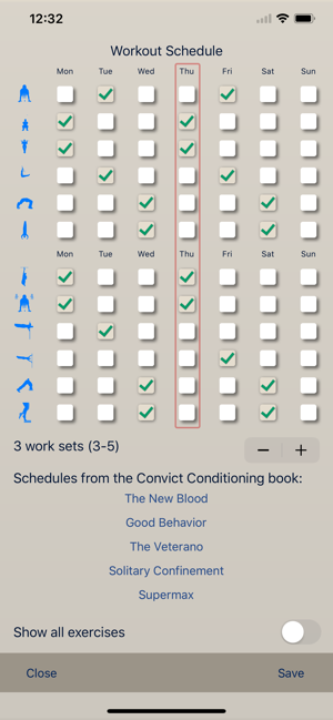 ‎Convict Conditioning Tracker Screenshot