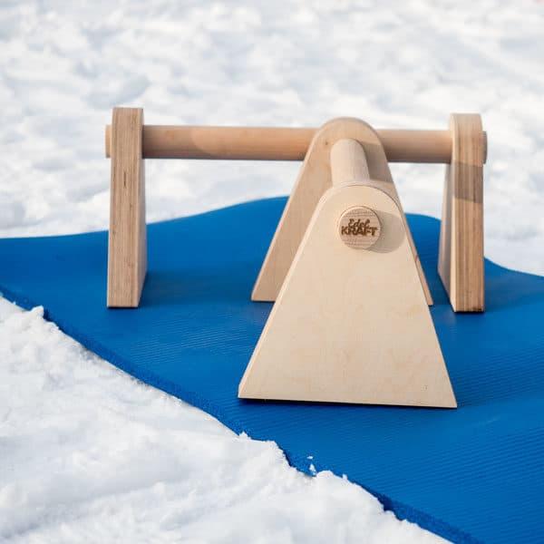 """Edel Kraft Minibarren """"to go""""- Stabile Parallettes aus Holz für unterwegs"""